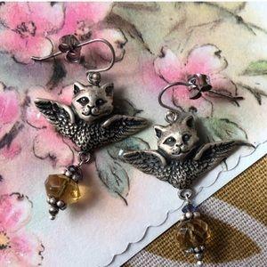 1980's Angel Cat Earrings